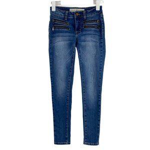 Ashley Mason Moto Zipper Skinny Stretch Crop Ankle